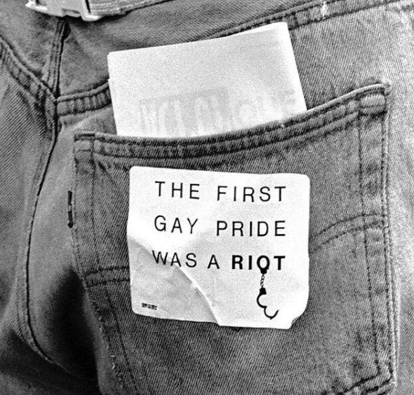 """""""THE FIRST GAY PRIDE WAS A RIOT,"""" Heritage of Pride, New York City, June 25, 1989. Photo/copyright by James McHugh"""